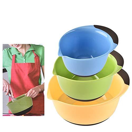 Creative 3Pcs/Set Plastic Round Dish Basin Mixing Bowl Salad Bowl Flour Rainbow Pan Kitchen Tools