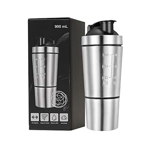 Protein Shaker Bottle with Stirring Ball Durable Fitness Motion Kettle Leak-Proof Double Scale Stainless Steel Water Bottle ,700 ml + 200 ml