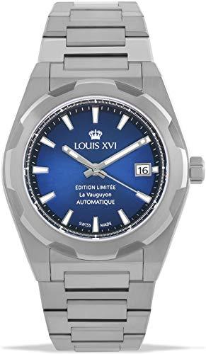 LOUIS XVI La Vauguyon 1035 - Reloj de pulsera para hombre con correa de acero plateado y azul Super-LumiNova