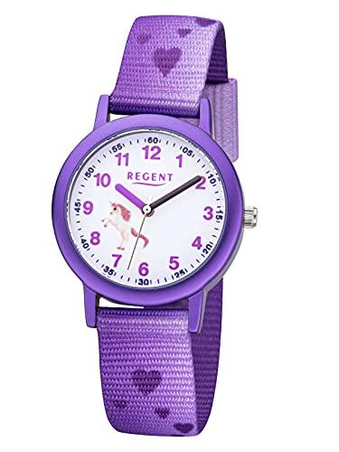 Regent Reloj infantil con diseño de caballo, color violeta F1365