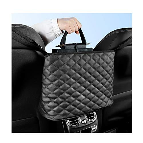 GNXTNX Car Net Pocket Handbag Holder, Car Seat Storage PU Mesh Organizer, Handbag Holder for Car, Auto Seat Back Net Bag, Barrier of Backseat Pet Kids,Negro