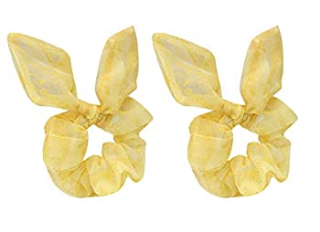 2 Pack Love Words Mesh Fabric Scrunchies Easter Day Bright Yellow Silk Lace Bow Hair Ties Bobbles Ponytail Holder Rabbit Ear Hair Scrunchies Hair Bands for Girls Cheer,Dance Recital,Birthday,Themed Party Festivals