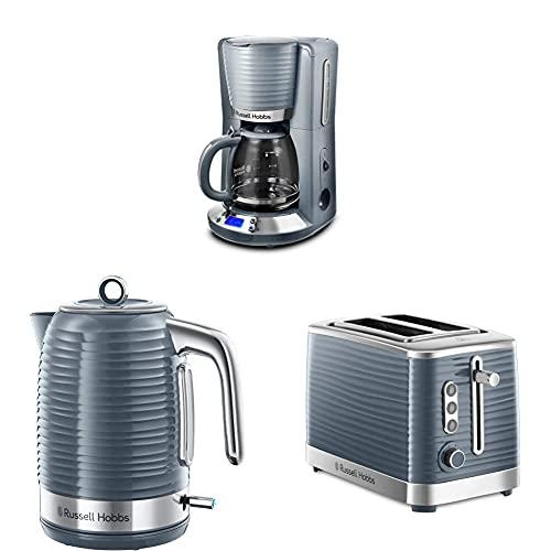 Russell Hobbs Inspire Grey Frühstückset Toaster, Wasserkocher und Kaffeemaschine