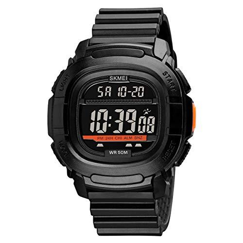 HelloCreate Reloj digital impermeable para hombre con cronómetro y fecha, para deportes al aire libre