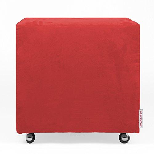 Arketicom UILLS Pouf Design Cube Roues Repose Pied Dehoussable Microfibre 45x45 Rouge