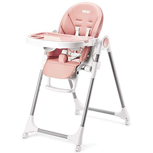 HEAO fold Baby High Chair 4 in 1 with Wheels, converts to Infant Floor Seat, Toddler Booster Chair, Kids Table Pink