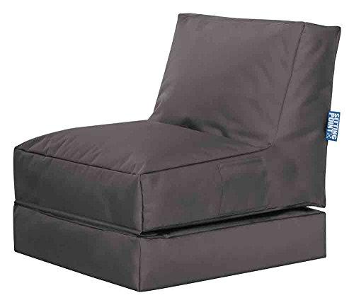 lifestyle4living Sitzsack für draußen in Grau aus wasserabweisendem Microfaserstoff | Bequemer Sitzsackstuhl und Liegesack, 300 l