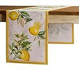 Maison d' Hermine Limoncello Chemin de table en 100 % coton pour fêtes | dîner | jours fériés | cuisine | printemps/été (50 cm x 150 cm)