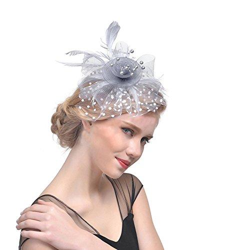 Bibi en Plume Elegant Fascinants Chapeaux de Mariage et Pince à Cheveux Bandeau Cocktail Voilé Chapeaux de Mariage pour Femme Bibi avec plume à cheveux Cocktail Chapeau Hat Party Cheveux