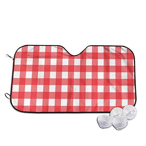 Voorruit zon schaduw vizier voorraam glas voorkomen dat de auto van verwarming tot binnen rood en wit geruit tafelkleed patroon aangepast