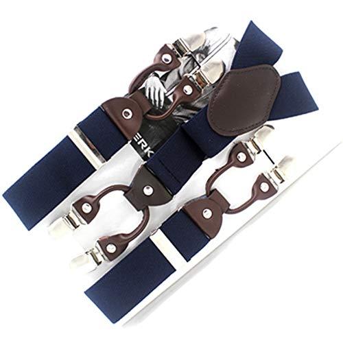 DYDONGWL Suspenders/Heren bretels casual Mode beugels leren bretels Verstelbare 6 clip Riem riem