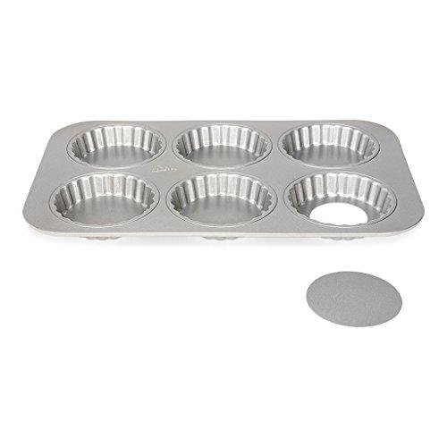 Patisse 6 Mini Quicheformen / 6 Mini Torteletts als Backblech mit losem Boden für leckere Mini Quiches & Tartes, Silver-Top