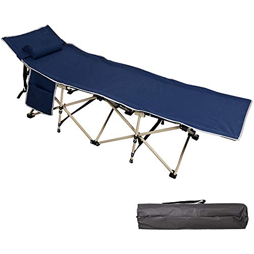 Besthls Folding Camping Cot for Adults and Kids, Heavy Duty Camping Bed Sleeping Cot with Carry Bags Removable Pillow for Outdoor Indoor Use, Supports 400lbs