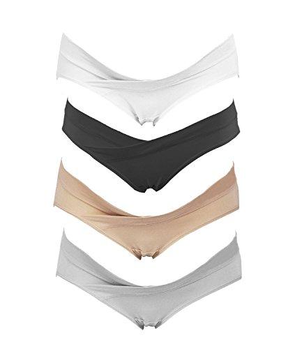 Crazy Cart Paquete de 4 bikini de maternidad para mujer Under The Bump - blanco - Large