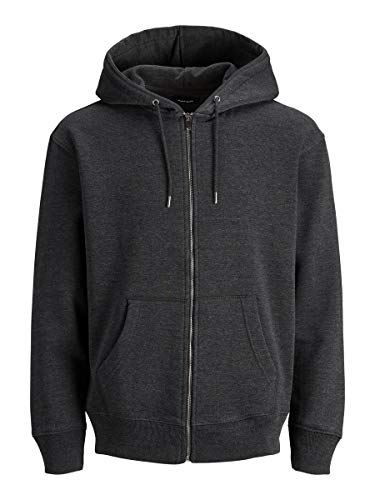JACK & JONES Male Hoodie Reißverschluss Sweat LDark Grey Melange