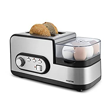 Gourmia GBF470 3 in 1 Breakfast Station Center - 2 Slice Toaster - Egg Cooker & Poacher - Vegetable, Bacon and Meat Steamer - One Touch Controls - 1250W - Black/Stainless Steel