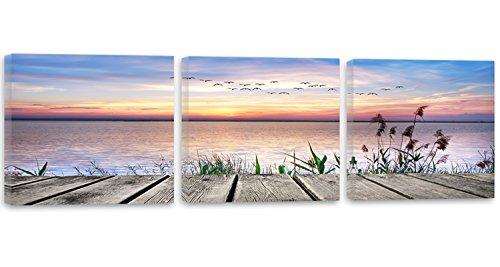 Feeby Frames, Cuadro en lienzo - 3 partes - Panorámico, Cuadro impresión, Cuadro decoración, Canvas 180x60 cm, PUENTE, AVES, AGUA, HIERBA, AZUL, PÚRPURA