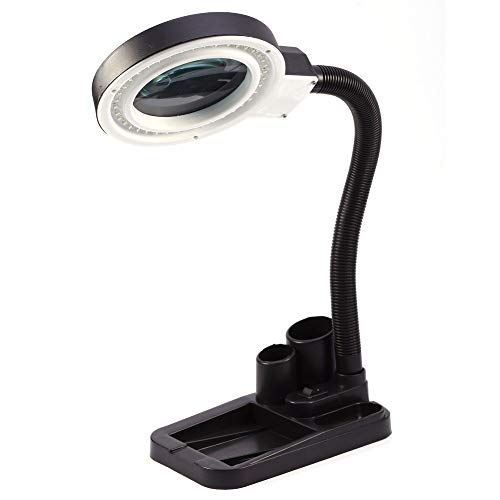 WangchngqingTD Flexo Led Escritorio, Lámpara 2 en 1 Multi-función LED Luz Ahorro de energía de Aumento de Cristal Crafts Escritorio con 5X y 10X Lupa con 40 Iluminación LED