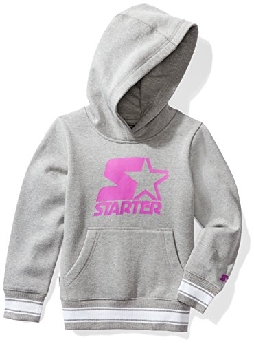 Starter Girls' Pullover Logo Hoodie, Amazon Exclusive, Vapor Grey Heather with Pro Purple, XL (14/16)