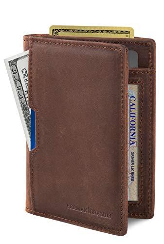 SERMAN BRANDS - Wallets for Men Slim Mens leather RFID Blocking Minimalist Card Front Pocket Bifold Travel Thin (Texas Brown 5.0)