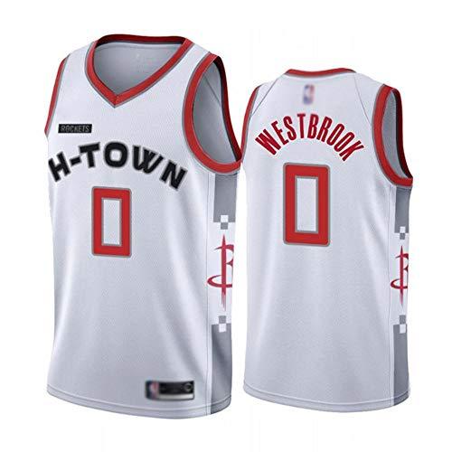 HBCC # 0 Camisetafanáticos de Russell Westbrook Rockets,Camiseta sin Mangas de baloncestoniños,Nuevo en la Temporada 19-20 Camiseta con Bordado Fino Ropa Deportiva Rojo Blanco-A_M_Equipo de Deporte