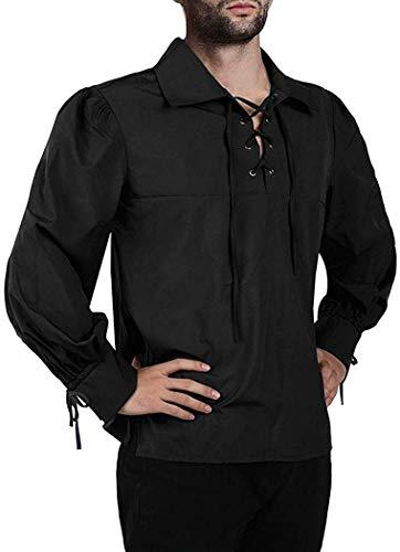 Mensleben Herren Hemd Langarm Schnürhemd mit Kentkragen Trachten Hemd Piraten/Prinz kostüm Männer Cosplay Verkleidung