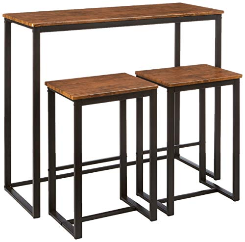 Kit Closet Set de Mesa + 2 taburetes Altos Conjuntos, Madera, Negro/Marron