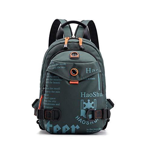 DKLGH Fashion Men Backpack Mini Soft Touch Multi-Function Small Backpack Male Shoulder Bag Men Purse-Green