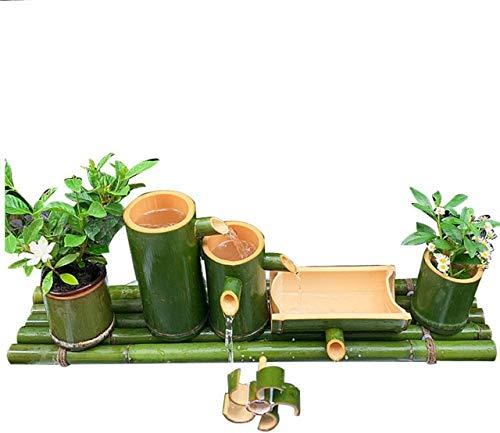 Fuente y Bomba de Agua de bambú Hecha a Mano, decoración de jardín, Fuente Artesanal, jardinería Relajante, Fuente de Agua de jardín Zen para Estanque, Piscina, Patio, balcón, 30 cm