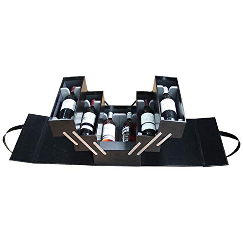 Wein Geschenkbox Mehrschichtige große Weinbox für 6 Flaschen Weinhalter Fall tragbare schwarze PU Leder Top Griff Reise Weinkoffer Rotwein Champagner Lagerung Geschenk Verpackung Box für Geburtstagsfe