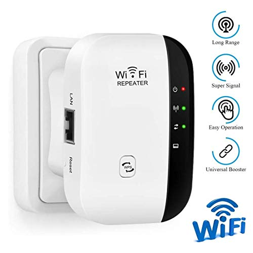 LONUO WLAN Repeater Wireless WLAN Netz Signal Verstärker 300Mbps/ 2.4GHz Fast Netzwerk Range Extender mit LAN Port/WPS Taste/Repeater/AP-Modus Kompatibel mit Allen WLAN Geräten