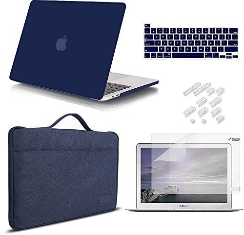 iCasso MacBook Pro 13 Inch Case 2020 Release Model A2251/A2289 Bundle 5 in 1, Hard Plastic Case, Sleeve, Screen Protector, Keyboard Cover & Dust Plug Compatible MacBook Pro 13'' (Navy Blue)