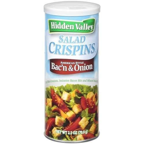 Hidden Valley, Salad Crispins, Bac'n and Onion, 2.5oz Canister (Pack of 4)