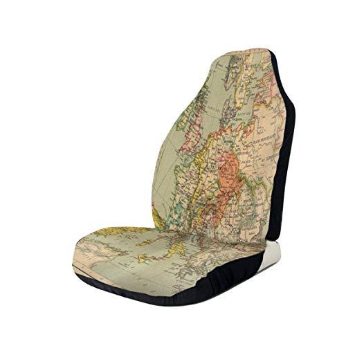 surce auto stoelen Cover kaarten in de Renaissance Bucket Seat Protector universele flexibele voorstoelen Cover gemakkelijk in- en uit voorstoelen Cover met elastische band & opbergtas voor campers mini-voertuigen