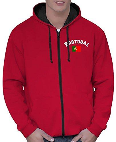Coole-Fun-T-Shirts Portugal Sweatshirtjacke Varsity Jacke rot-schwarz, Gr.M