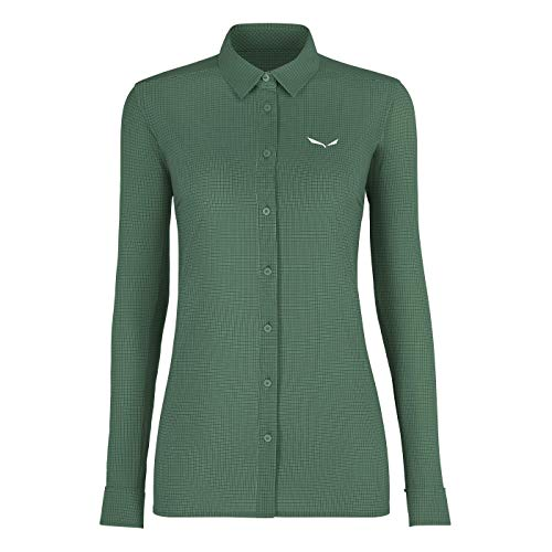 Salewa PUEZ MINICHECK2 Dry W L/S SRT Shirt Femme, Myrtle, FR : S (Taille Fabricant : 42/36)