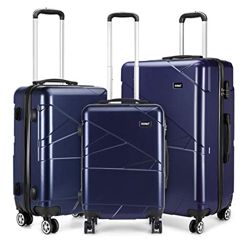 "Kono Luggage Set 3 Pieces Light Weight Hard Shell PC Suitcase 4 Spinner Wheel Travel Trolley Case 20"" 24"" 28""(3pcs Set, Navy)"