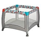 Fisher-Price Laufgitter Play N Relax SQ - faltbarer Laufstall 90x90 cm für sicheres Spielen - auch als Reisebett nutzbar, inklusive Tragetasche - Grau Bunt