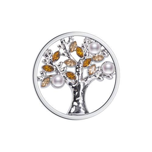 Meilanty Damen Halskette Lebensbaum Anhänger Coin 33mm für Münzfassungen Edelstahl Baum des Lebens Kristall Perle Gelb GP-96