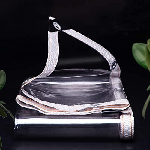 SXB Telone impermeabile in PVC trasparente con occhielli, 0,35 mm, in vetro trasparente, resistente alle intemperie, per la protezione delle piante, per mobili da giardino, serra, tettuccio
