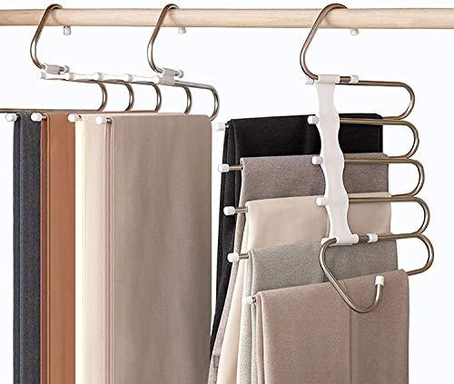 Perchas para Pantalones Perchero de Acero Inoxidable Pesado para Pantalones Bufandas Vaqueros (2Pcs-Blanco)