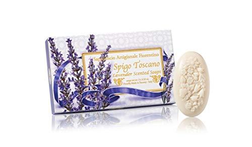 Jabón de lavanda, ovalado con relieve tallado ramo de flores, pack regalo de 3 jabones de 100 g, italiano hecho a mano de Fiorentino