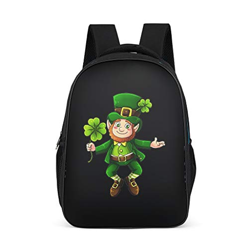 Divertida mochila Kobold de color verde irlandés, trébol de St. Patrick Tag impreso, negra, resistente al agua, mochila para niños, niñas, bolso de libros, bolso de hombro Gris gris talla única