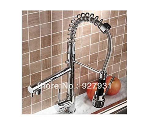Chrom Doppeldüsenfeder PULL Down Spültischmischer Wasser Penis Wasserhahn mit heißem und kaltem Wasserschlauch