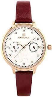 ساعة انالوج بمينا بيضاء وسوار جلد اصلي للنساء من نافي فورس - NF5003-RGWR