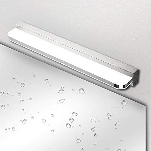Lámpara de Espejo Baño LED IP44 Ketom 9W 600LM Aplique Espejo LED Blanco Frío 6000K LED Lámpara de espejo, Lámpara de Pared Espejo de Acero Inoxidable Para Maquillaje, Espejo, Baño, 42cm