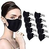 XINMINGREN 10er Pack Set Mundschutz Unisex Mund und Nasenschutz Waschbar und Atmungsaktiv Sport Gesichtsschutz Fashion Schwarz Nasen Mundschutz