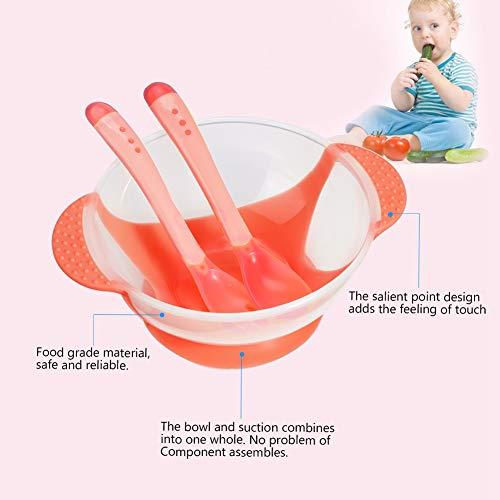 01 Praktisches Babygeschirrset, Baby-Saugnapfschale, rutschfest für Kleinkinder(Pink)