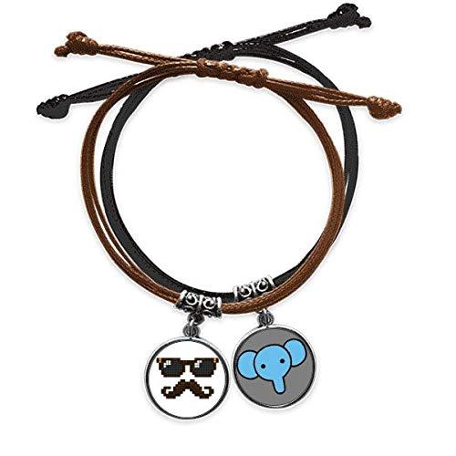 Gafas de sol barba hombre pixel pulsera cuerda mano cadena cuero elefante pulsera