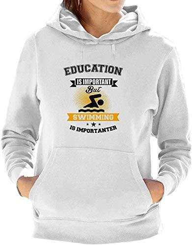 xinfub Swimming is Importanter Ladies Athletic Hoodie Sweatshirt Jumper Hooded Pullover